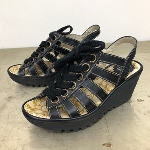 FLY London  Lace Up Yito Wedge Sandals